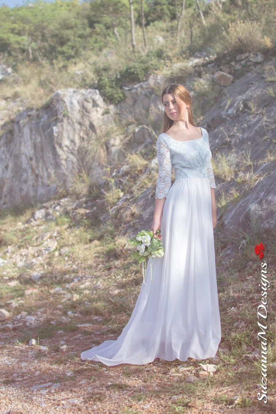Wedding - Long Wedding Dress, 50s Wedding Gown, White Bridal Dress, Blue Lace Dress, Chiffon Wedding Gown, Long Bidal Dress, Handmade Wedding Dress
