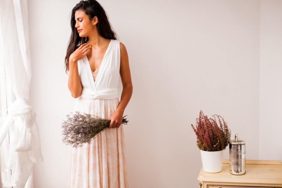 Свадьба - Bride in a hurry, Rose quartz lace skirt, rustic lace skirt wedding dress, removable lace skirt, rose gold lace skirt infinity wedding dress