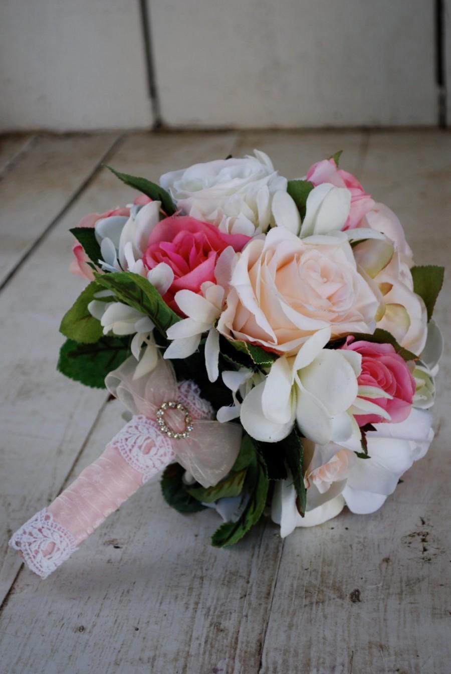 Свадьба - SALE, Silk bridal bouquet, nosegay, pink, white roses, plumeria SALE!!!!!