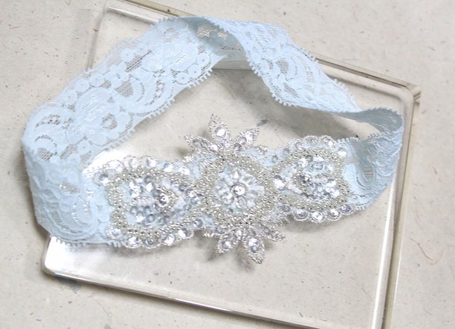 Свадьба - Blue lace garter, lace garter, keepsake garter, single garter, something blue wedding garter, toss garter