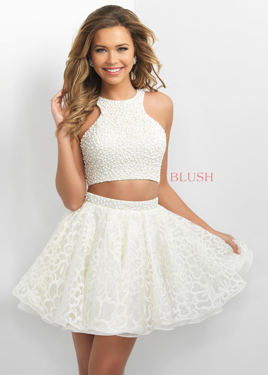 2016 Beaded Halter Top Two Piece Open Back Cream Homecoming Dress
