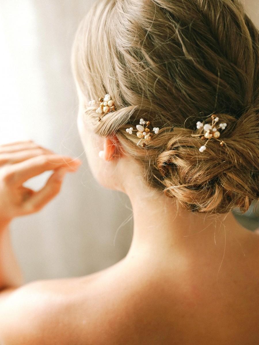 Mariage - Bridal pearl bobby pins, wedding hairpins, bridal bobby pins, updo hair pins, set of 3 - style 140