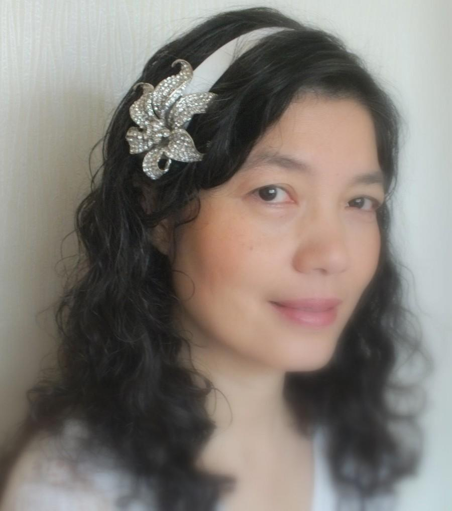 Wedding - Crystal Lily on Satin- Austrian Rhinestone Satin Head Band Tiara Sash