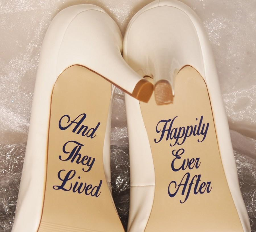 زفاف - And They Lived Happily Ever After Wedding Shoe Decals, High Heel Decals, Wedding Shoe Decals, Shoe Decals, Wedding Shoe Stickers, Shoe Decal