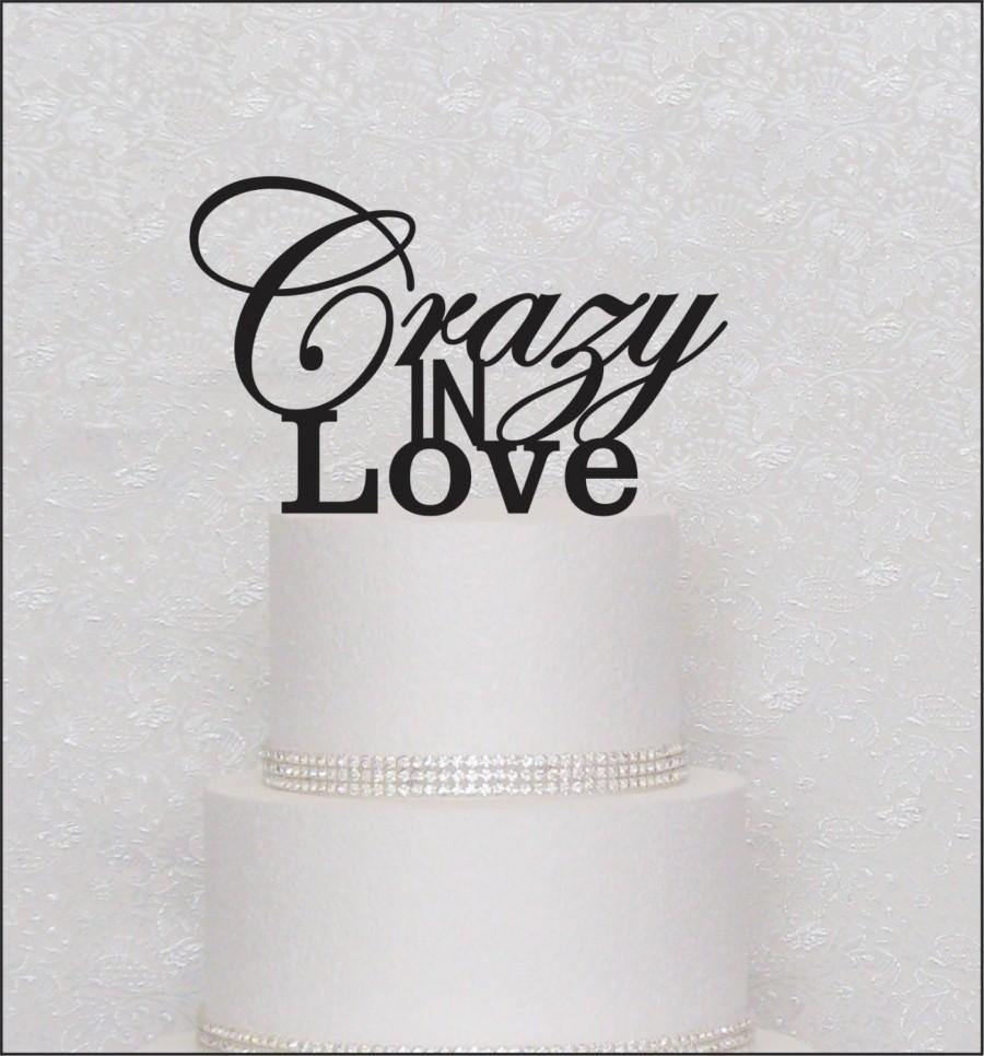 Hochzeit - Crazy In Love Monogram Wedding Cake Topper in Black, Gold, or Silver