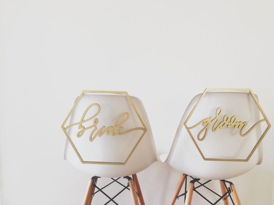 Hochzeit - Geometric Bride + Groom Chair Backs
