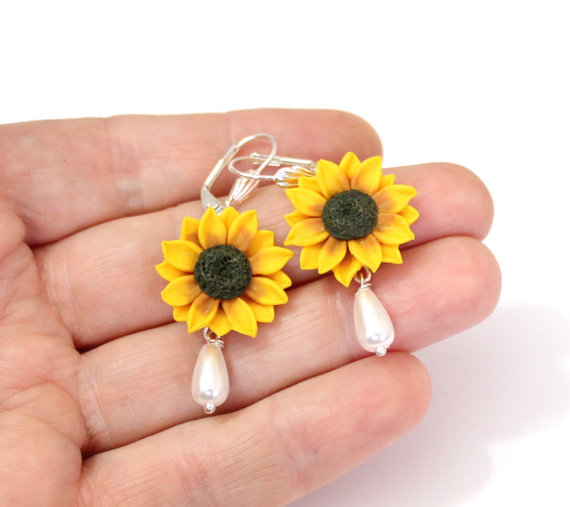 Wedding - Yellow Sunflower Drop Earrings,Yellow Flower Drop Earrings, Jewelry Yellow Sunflower, Wedding Earrings, Summer Jewelry, Bridesmaid Jewelry