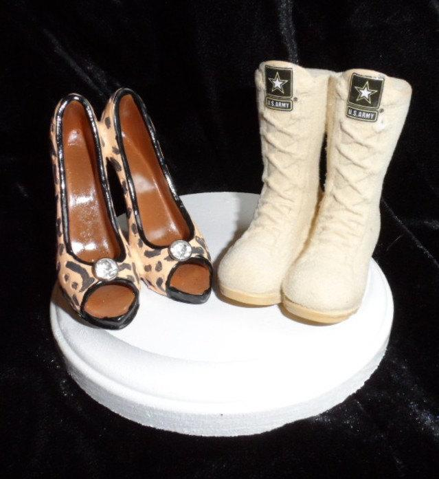 Hochzeit - Army, Navy, Air Force, Marines Military Boot and high heel wedding cake topper.  Perfect for the patriotic groom and his high-class bride!