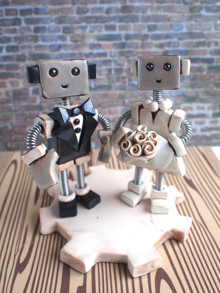 "Свадьба - Custom Robot Wedding Cake Topper MADE TO ORDER Rustic Shabby Chic Bots 4"" inch - Clay and Wire"