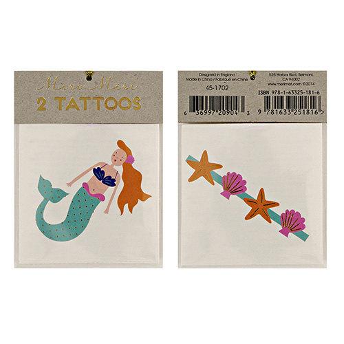 Hochzeit - 2 TEMPORARY TATTOO, mermaid tattoo, metallic tattoo fake tattoo, party favor