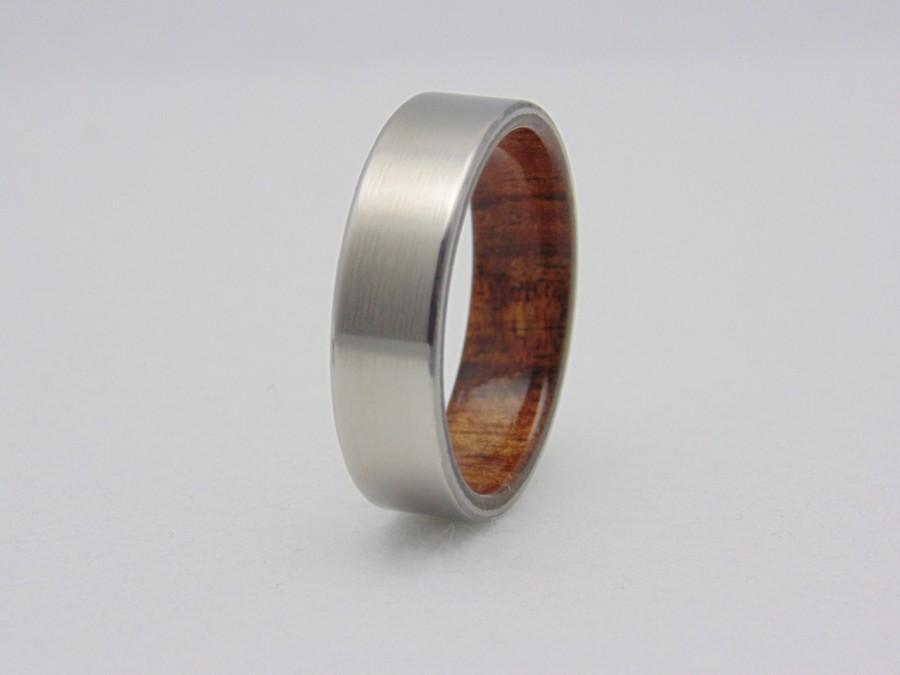 Wedding - Koa wood and Titanium ring, Titanium wedding band