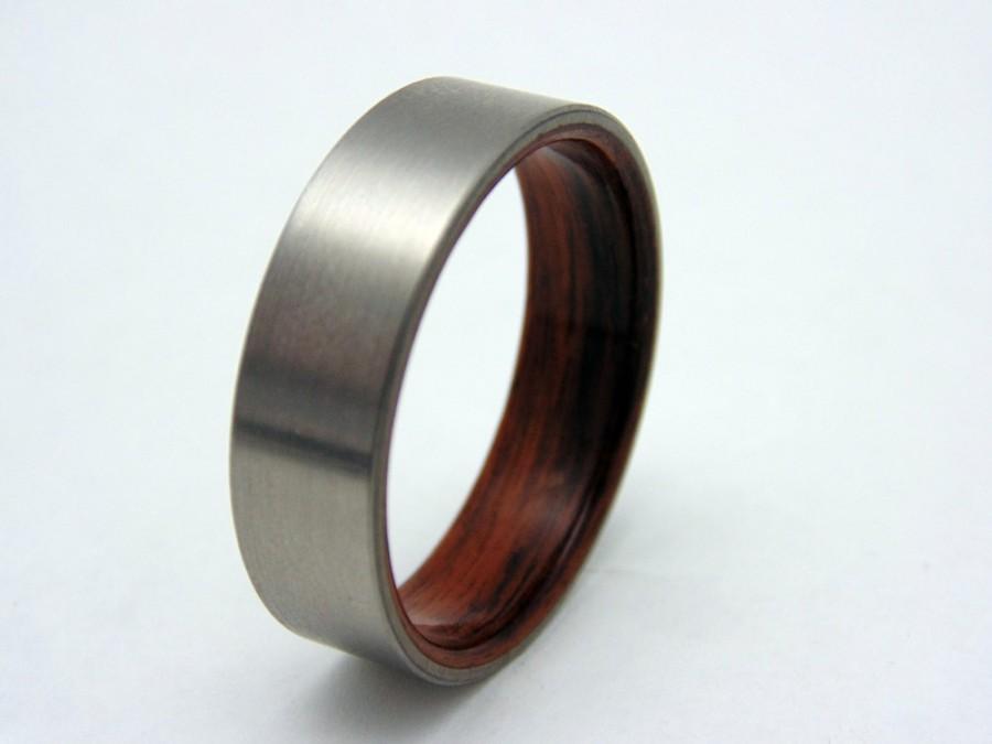 Wedding - Titanium and wood ring  bentwood Rosewood liner and satin titanium wedding band