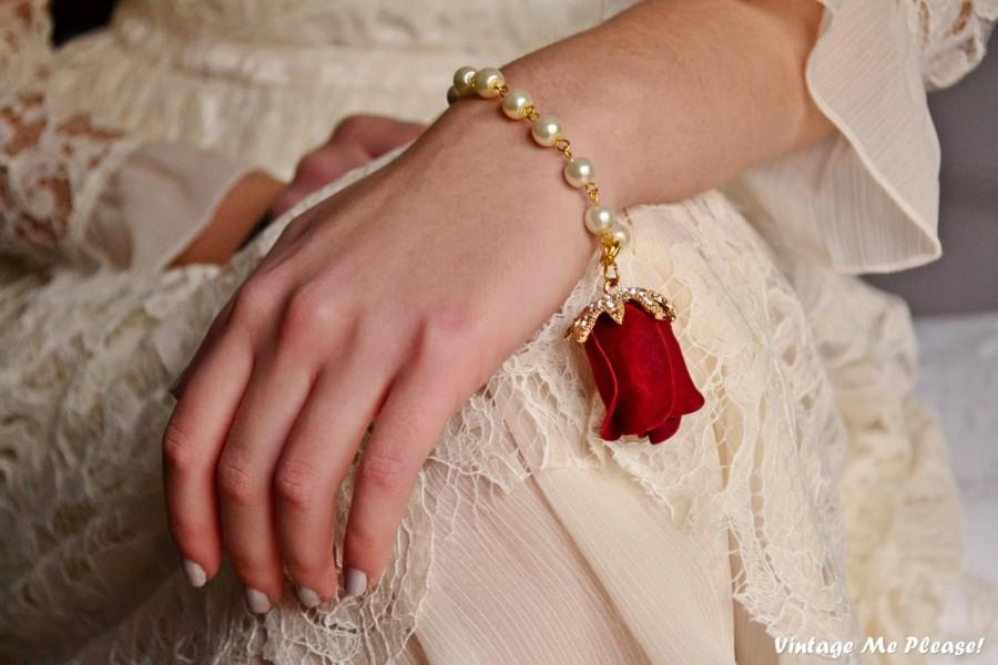 Wedding - Rose Bracelet, Bridesmaids Bracelet, Flower Girl Bracelet, Ivory Pearl Bracelet, Rhinestones Bracelet, Handmade Wedding Accessories