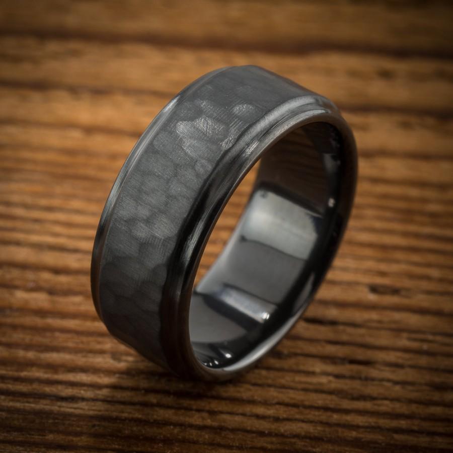 Mariage - Men's Wedding Band Comfort Fit Interior Hammered Black Zirconium Ring