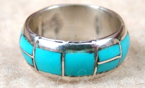 Wedding - Zuni Full Wrap Inlay Turquoise Ring Bands by Gloria Chattin -Item # 430H