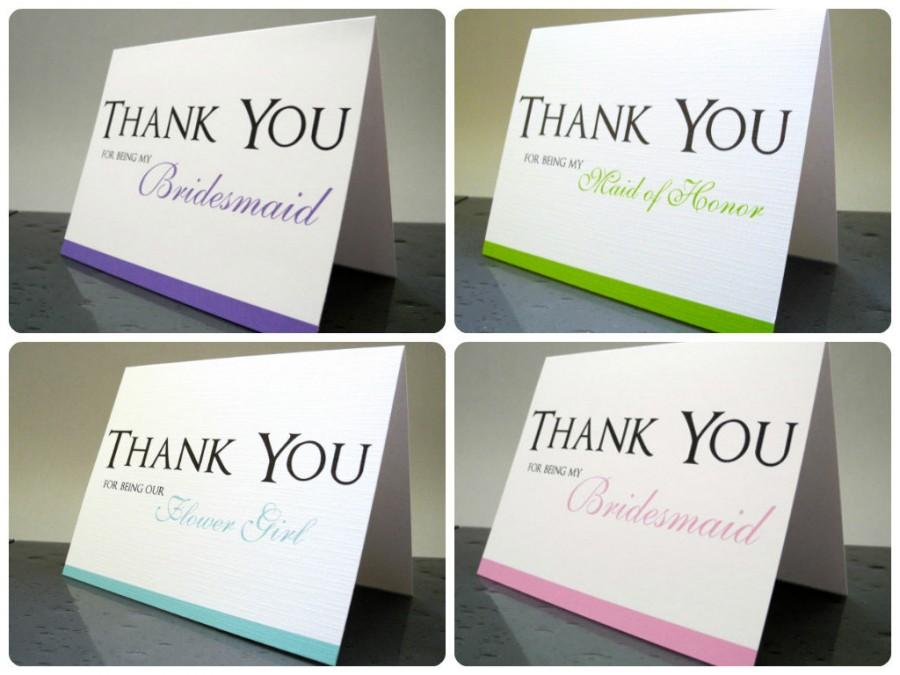 Mariage - Thank You for Being My Bridesmaid, Maid of Honor, Flower Girl Bridesmaids Thank You Cards, Bridesmaid Thank You Gift Card (Set of 10)