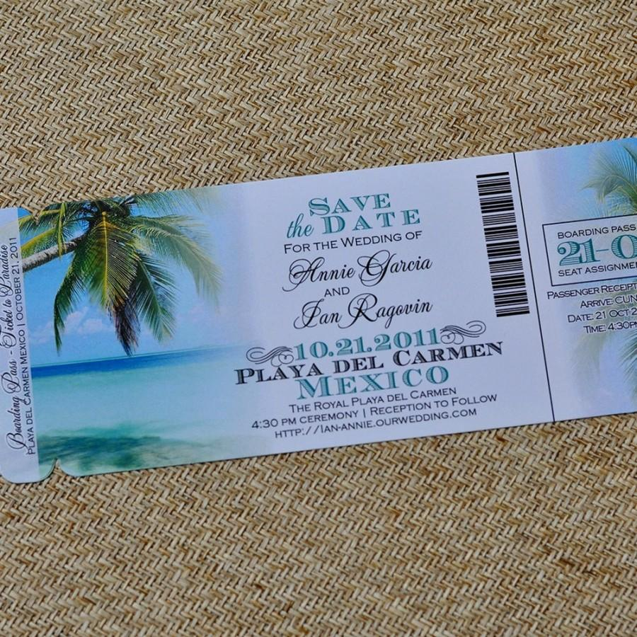 Boarding pass invitation or save the date design fee tropical boarding pass invitation or save the date design fee tropical paradise beach design stopboris Gallery