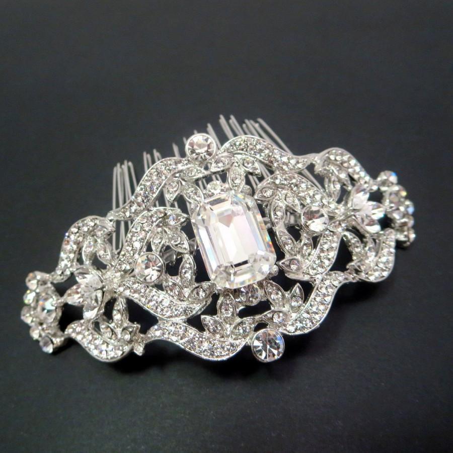 Свадьба - Bridal rhinestone hair comb, Wedding hair comb, Vintage inspired hair comb, Antique silver hair comb