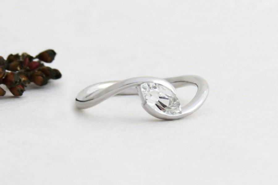 Wedding - Unique Engagement Ring, Marquise Engagement Ring, White Topaz Engagement Ring, Alternative Engagement Ring, 18k Solid Gold Ring with Topaz.