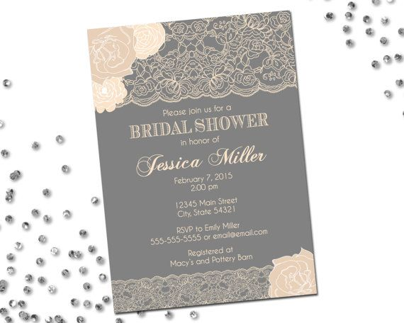 lace bridal shower invitation flowers and lace neutrals grey and cream classic layout printable