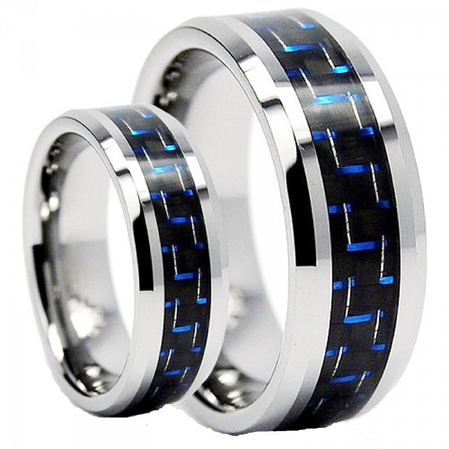 Tungsten wedding bandwedding band set matching8mm 6mm for Tungsten carbide wedding ring sets