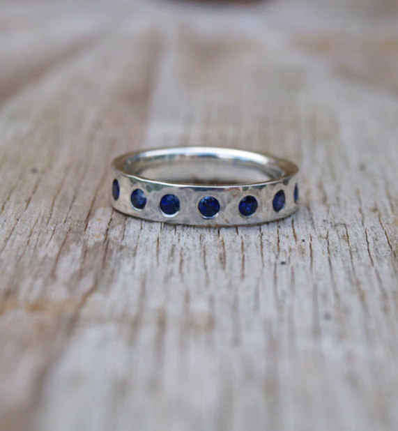 Wedding - Sapphire flush set band, Silver band with sapphires