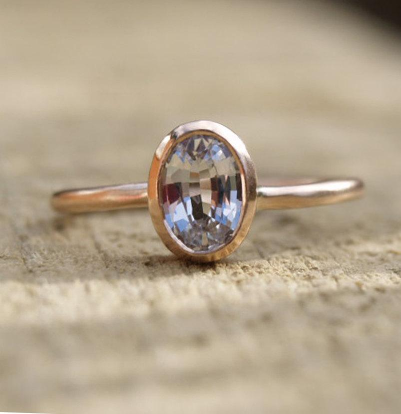 Wedding - 9ct rose gold white sapphire ring, oval white sapphire rose gold ring