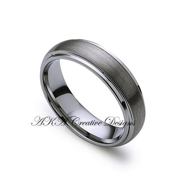 Wedding - Mens Tungsten Band, 6mm Tungsten Wedding Band, Brushed, Dome Classic,Brushed Polish,Mens Wedding Band