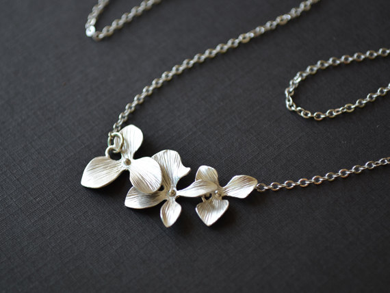Wedding - SALE, Orchid Necklace, Flower Necklace, Silver necklace, Wedding jewelry, Bridal necklace, Bridesmaid gift, Anniversary gift, Christmas gift