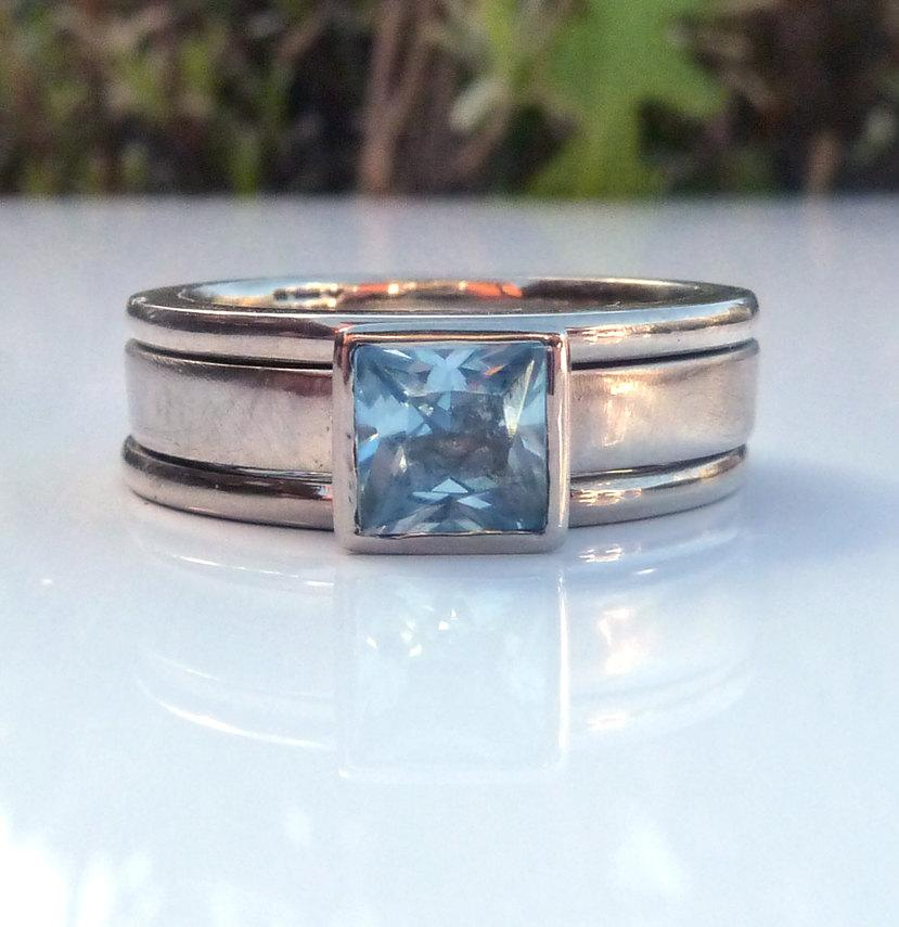 Wedding - White gold aquamarine ring, white gold solitaire ring