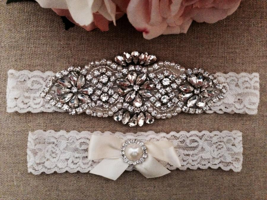 Hochzeit - Wedding Garter - Bridal Garter - Couture Pearl and Crystal Rhinestone Garter and Toss Garter Set on Ivory Lace
