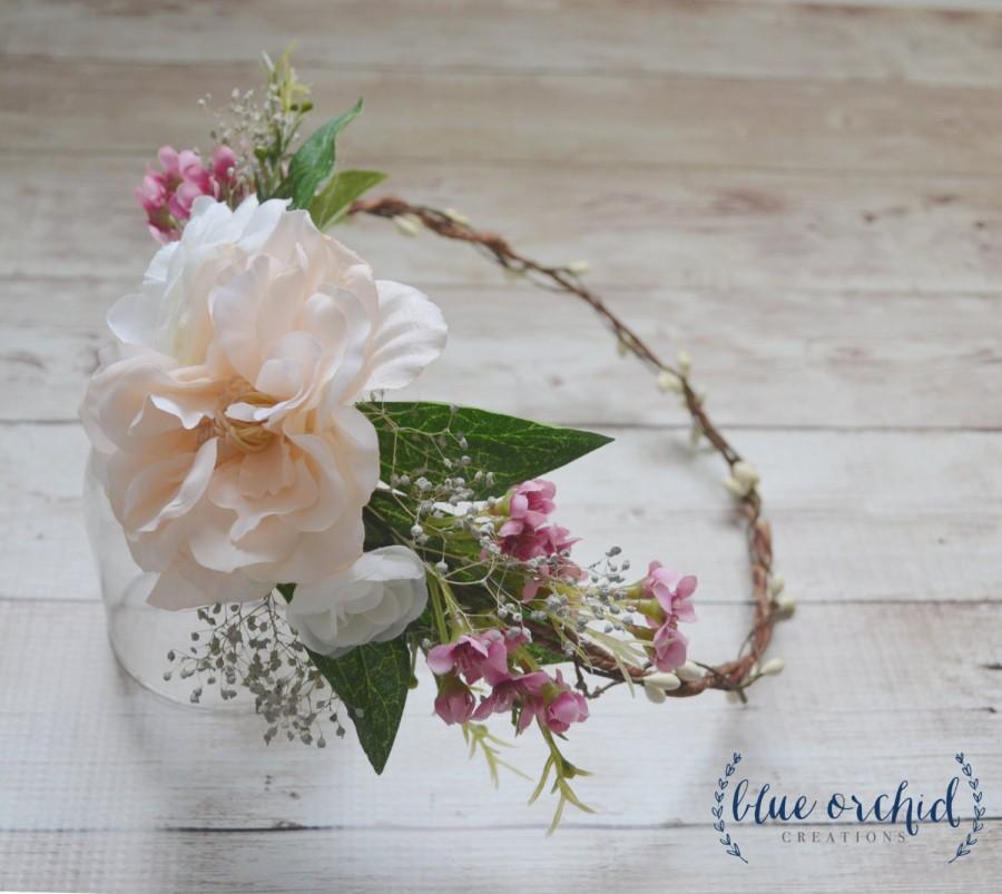 Hochzeit - Flower Crown - Cream, Blush, Pink - Boho Flower Crown, Floral Crown, Wedding Hair Accessory, Wedding Hair, Pink Flower Crown