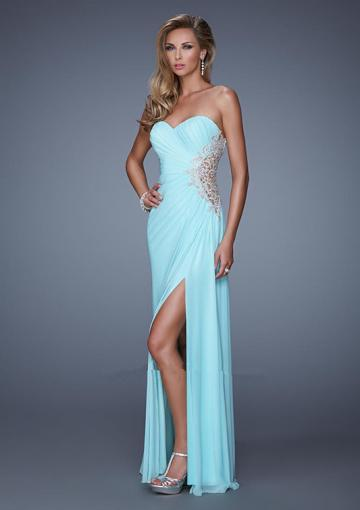 Wedding - Blue Sleeveless Ruched Split Front Sweetheart Chiffon Appliques Floor Length