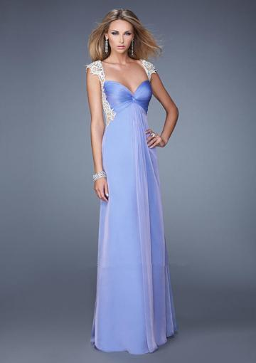 Mariage - Ruched Sweetheart Pink Floor Length Cap Sleeves V-back Appliques Blue Chiffon