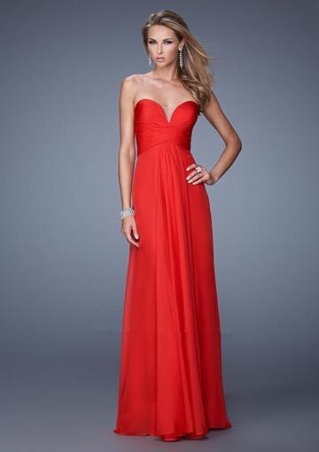 Свадьба - Sweetheart Ruched Floor Length Chiffon Zipper Sleeveless Red Blue