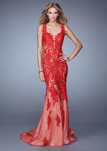 Wedding - Straps Red Navy Sweep Train Appliques Open Back Ruched Tulle Sheath