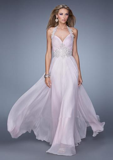 Wedding - Sleeveless Ruched Halter Pink Appliques Backless Floor Length Chiffon