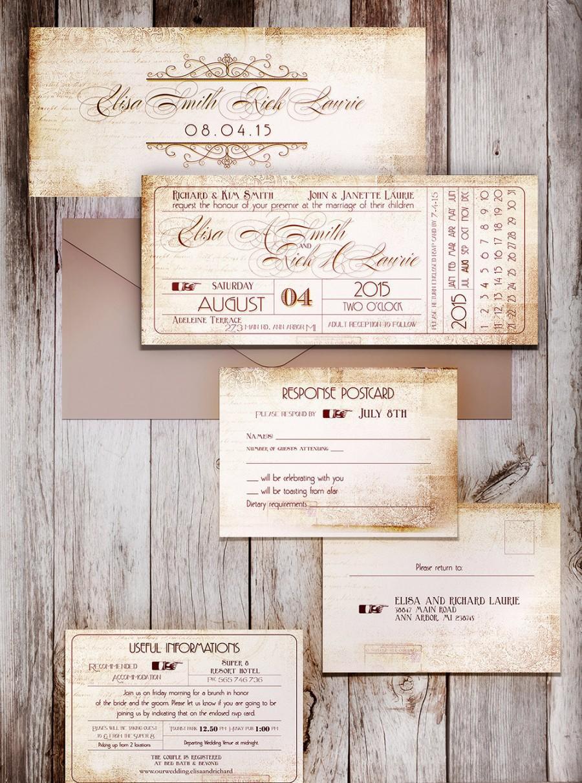 TICKET STUB PRINTABLE Wedding Invitation Ticket Stub Wedding Save - Save the date ticket template