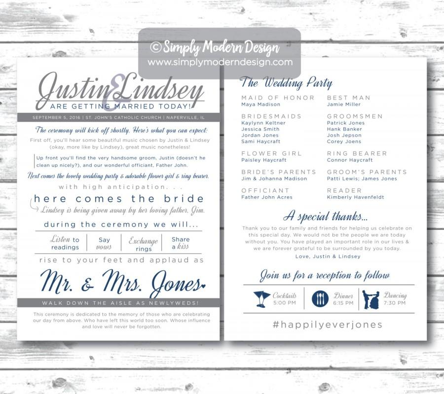 Unique Wedding Reception Program Ideas: Modern And Fun Double Sided Wedding Program, Unique