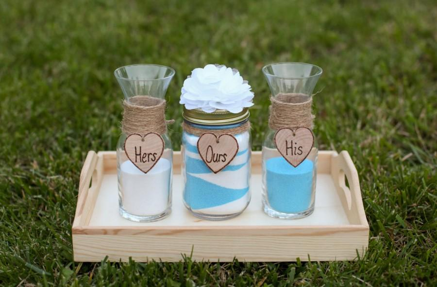 Personalized Rustic Wedding Unity Sand Ceremony Set Custom Flower Amp Heart French Country Shabby
