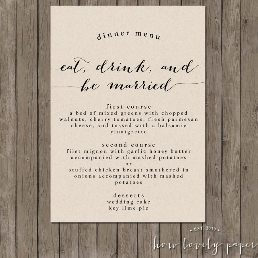 Mariage - Printable Wedding Menu Dinner Card - the Bailey Collection