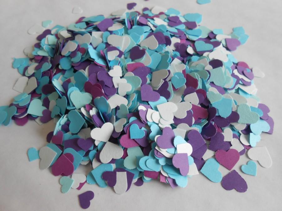 Свадьба - Over 2000 Mini Confetti Hearts. Shades of Purple, Turquoise, & Teal Blue. Weddings, Showers, Decorations. ANY COLOR Available.