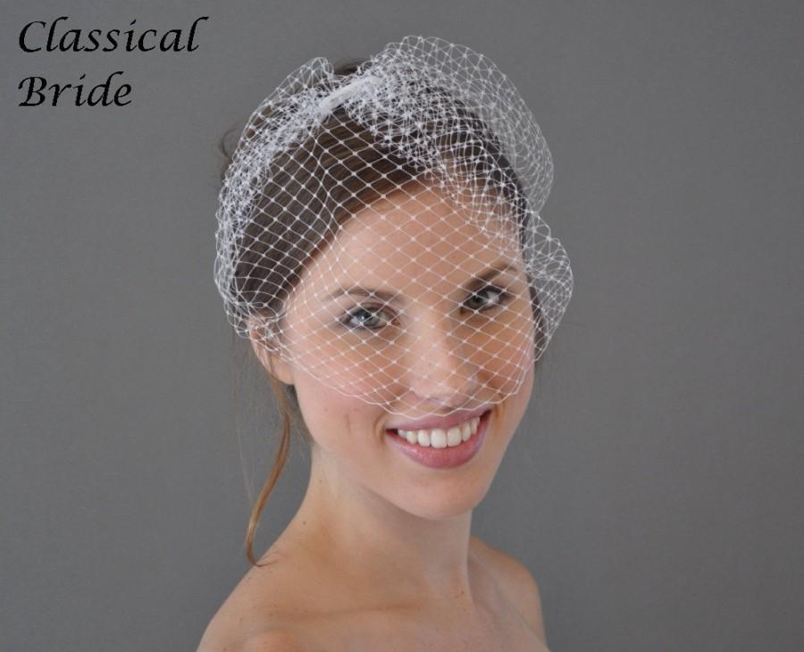 Свадьба - CLASSIC FRENCH BIRDCAGE Blusher 9 Inch Veil In White or Ivory for bridal wedding tiara hair accessory