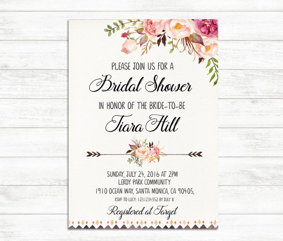 Bridal Shower Invitation Printable Invite Fl Rustic Boho Bride To Be