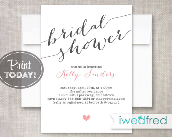 image relating to Bridal Shower Invitations Printable titled Bridal Shower Invitation, Bridal Shower Invitation