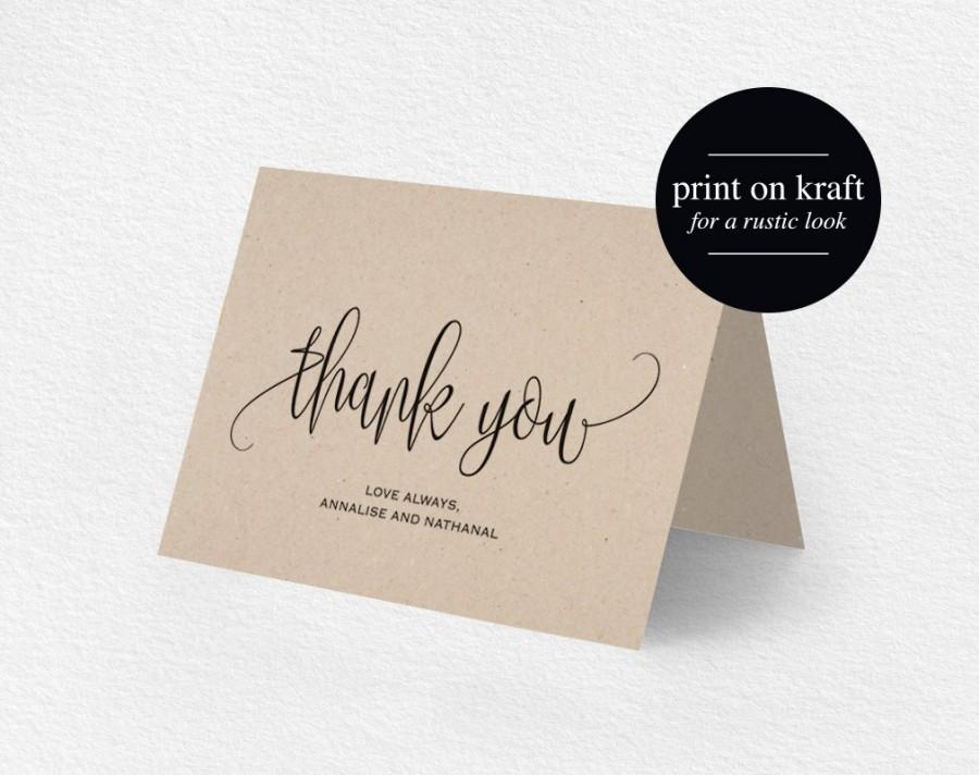 thank you card wedding thank you thank you card template printable thank you folded thank you tented pdf instant download