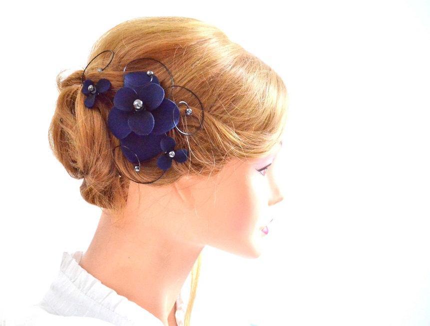 Bridal Hair Comb Floral Headpiece In Navy Bridesmaid Headpiece Hair ...