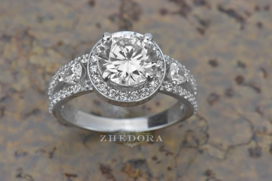 Wedding - 3.25 CT Round Cut Engagement Wedding Love Ring Solid 14k White Gold Split Shank Unique Bridal Band, Lab Created Diamond with Leaves