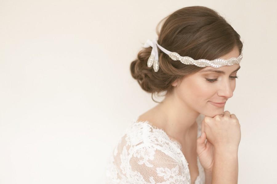 Свадьба - White Diamond - C. Rhinestone filled crystal diamond sparkling dazzling gem stone halo headband sash wedding bridal headpiece comb hair