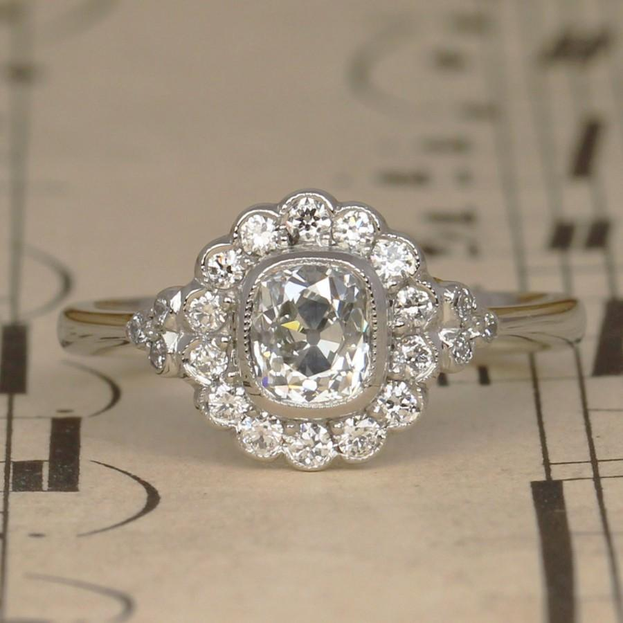 Art Deco Old Cushion Cut Diamond Halo Engagement Ring, Vintage Diamond  Cluster Ring Made In Platinum